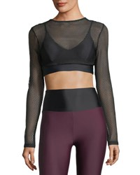 Lanston Boden Long Sleeve Mesh Layered Sports Bra Black