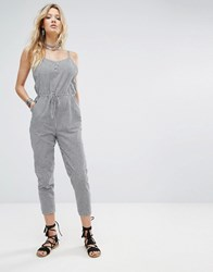 Honey Punch Relaxed Cami Jumpsuit In Gingham Black