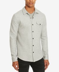 Kenneth Cole Men's Quilted Shirt Jacket Heather Grey