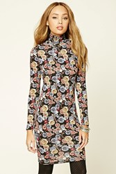 Forever 21 Floral Print Bodycon Dress Black Rose