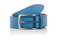 Barneys New York Men's Braided Keeper Calfskin Belt Blue