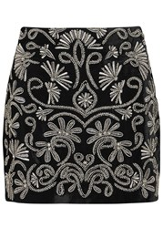 Alice Olivia Elana Sequin Embellished Mini Skirt Black