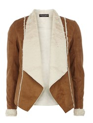 Dorothy Perkins Waterfall Shearling Jacket Tan