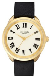 Women's Kate Spade New York 'Crosstown' Leather Strap Watch 34Mm Black White