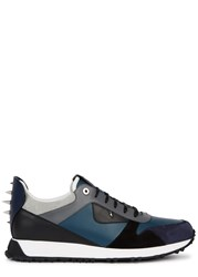 Fendi Studded Leather And Suede Trainers Navy