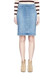 Frame Denim 'Le Pencil' Button Skirt Blue