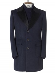Chester Barrie Navy Cashmere Change Coat With Alpaca Trim