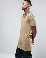 Asos Super Longline T Shirt With Scoop Neck And Distress In Beige Prickly Pear