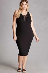 Forever 21 Plus Size Lace Up Bodycon Dress Black