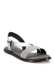 Brunello Cucinelli Monili Beaded Metallic Leather Sandals Silver
