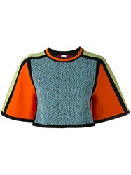 M Missoni Cropped Colour Block Jumper Women Cotton Polyamide Viscose S Blue