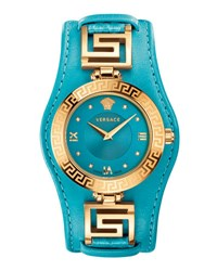 Versace 35Mm V Signature Watch W Leather Strap Blue