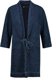3X1 Wj Cocoon Cotton Blend Jacquard Jacket Dark Denim