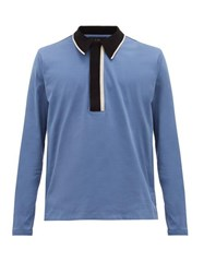 Dunhill Stripe Collar Cotton Blend Long Sleeved Polo Shirt Light Blue