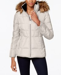 Calvin Klein Petite Faux Fur Lined Quilted Puffer Coat Barley