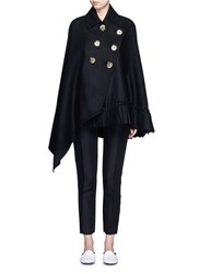 Victoria Beckham Asymmetric Double Breasted Wool Felt Tassel Cape Black