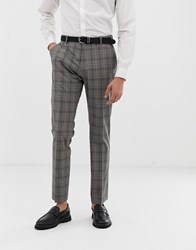 Selected Homme Slim Suit Trouser In Grey Sand Check
