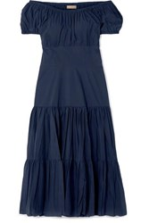 Michael Kors Collection Off The Shoulder Tiered Crinkled Cotton Poplin Dress Navy