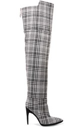 Off White Tartan Textured Knit Over The Knee Boots Gray
