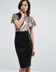 Paper Dolls Pencil Dress With Sequin Top Gold Black