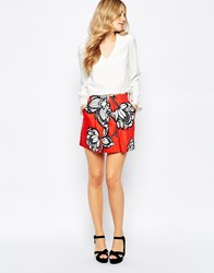 Finders Keepers Flashback Mini Skirt In Floral Print Red