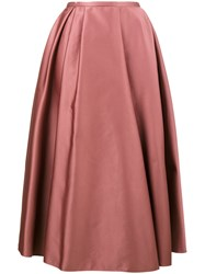 Rochas Satin Pleated Skirt Polyester Cupro Pink Purple