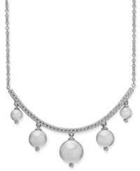 Danori Silver Tone And Shaky Imitation Pearl Collar Necklace 16 1 Extender Rhodium