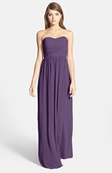 Women's Donna Morgan 'Stephanie' Strapless Ruched Chiffon Gown Amethyst