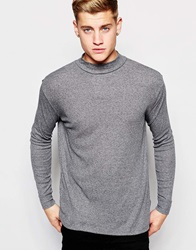 New Look Long Sleeve T Shirt With Turtle Neck In Ribbed Jersey Grey