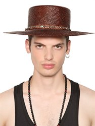 Htc Hollywood Trading Company Straw Hat With Studded Leather Hatband