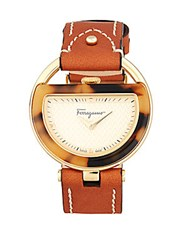 Salvatore Ferragamo Buckle Stainless Steel And Sapphire Crystal Watch Brown