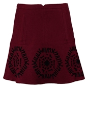 Desigual Ruth Mini Skirt Ruby Wine Red