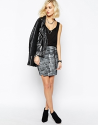 Religion Mini Skirt With Front Zip In Painted Zebra Print Black