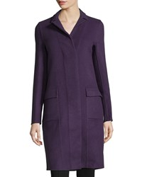 Halston Long Sleeve Car Coat Boysenberry Purple Boysenberr