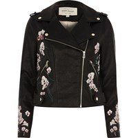 River Island Womens Black Faux Leather Floral Biker Jacket