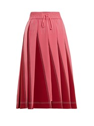 Valentino A Line Pleated Jersey Skirt Pink