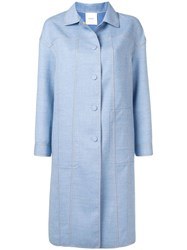 Agnona Single Breasted Fitted Coat Blue