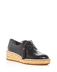 Loeffler Randall Callie Braided Straw Wedge Oxfords Black