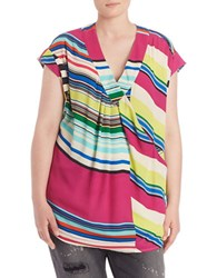 Melissa Mccarthy Seven7 Plus Striped High Low Tank Viola Purple Multi