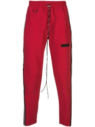 Represent Logo Panel Track Pants Red