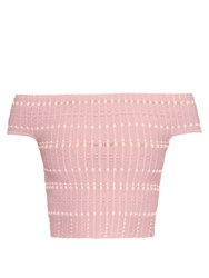 Alexander Mcqueen Off The Shoulder Knitted Crop Top Pink
