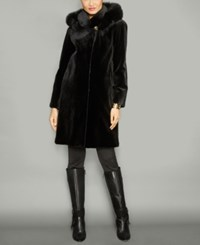 The Fur Vault Fox Trim Hooded Mink Coat Black Black