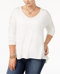 Say What Trendy Plus Size Long Sleeve Swing Top Snow White