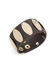 Saks Fifth Avenue Leather And Gold Plated Cuff Bracelet Brown Gold