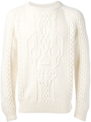 Alexander Mcqueen Skull Cable Knit Sweater White