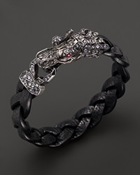 John Hardy Men's Naga Silver Lava Dragon Head Bracelet With Ruby On The Eyes And Color Change Garnet Multi