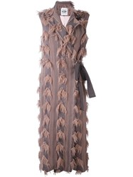 Si Jay Sleeveless Fringed Detail Coat Pink Purple
