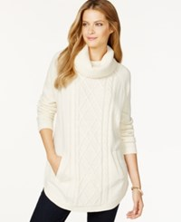 Charter Club Petite Cowl Neck Cable Knit Sweater Only At Macy's Vintage Cream