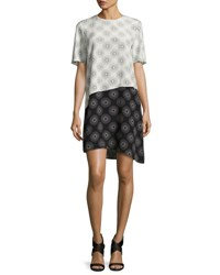Diane Von Furstenberg Sunburst Print Tiered Silk T Shirt Dress Black White