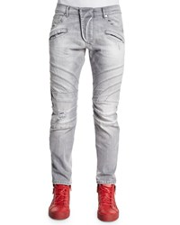 Balmain Five Pocket Moto Denim Jeans Light Gray Light Grey